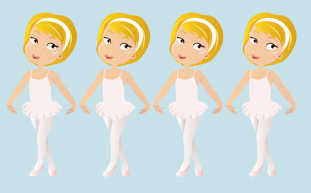 illustration of four very cute ballet dancer are practicing Vector