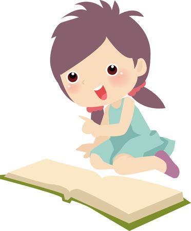 Jeune fille assise sur le plancher et de lire un livre  Banque d'images - 6364212
