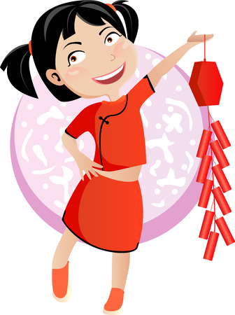 illustration of a cute beautiful girl of china  Vector