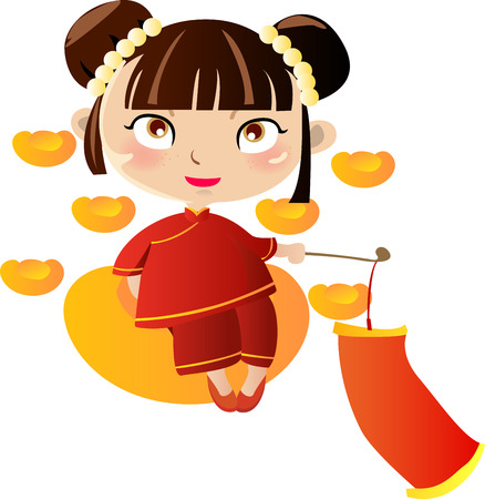 pretty: illustration of a cute beautiful girl of china