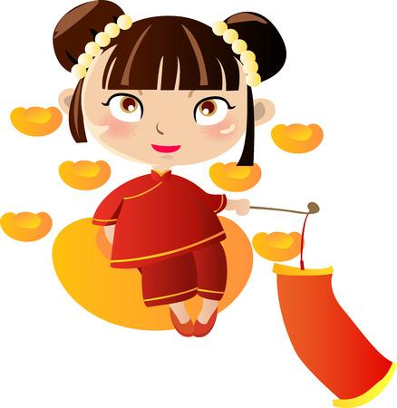 Ilustración de una preciosa niña bonita de china  Foto de archivo - 6364213