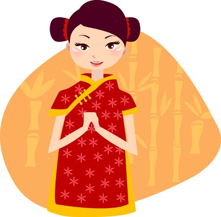 colour fan: illustration of a cute beautiful girl of china