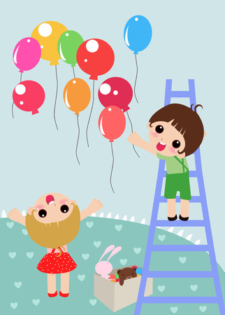 illustration of  two kids ready for party