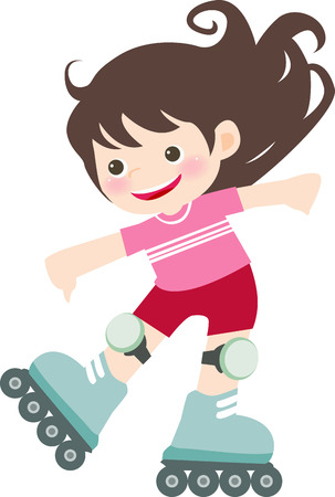 inline skates: illustration of a  cute girl on inline skates