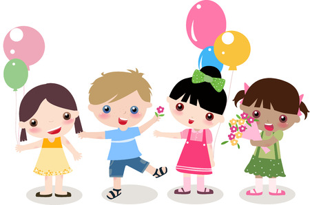pretty dress: illustration of four cute kids -boy and girls Illustration