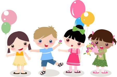 sonrisa hermosa: Ilustraci�n de cuatro ni�os lindos - los ni�os y las ni�as