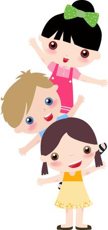 illustration of  three cute kids -boy and girls
