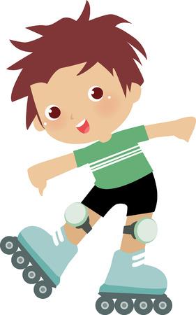 illustratie van een grappig jongen op inline roggen  Vector Illustratie