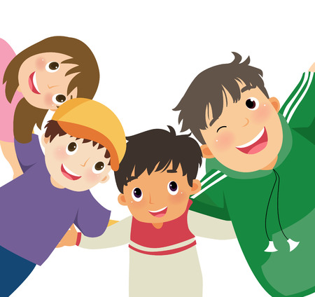 illustration of three boys and a girl  Vector
