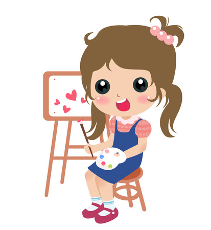 coloring sheet: illustration of a cute little girl painting