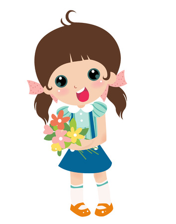 child s: illustration of a cute little girl with flower