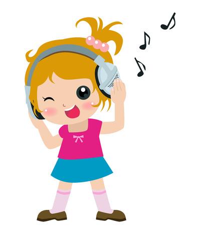 귀여운 소녀 듣는 음악의 그림