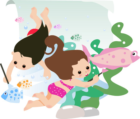 illustration of two cute little girls drawing Vector
