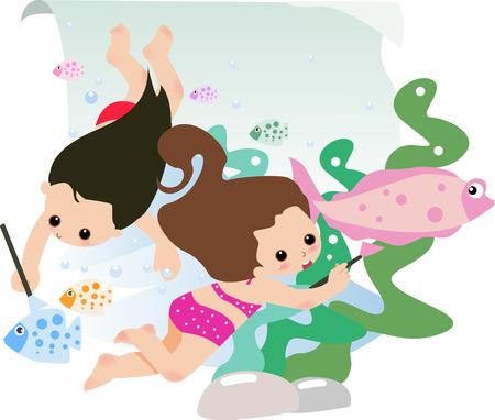 cute little girls: Ilustraci�n de dos ni�as peque�as cute de dibujo  Vectores