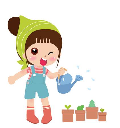 귀여운 소녀 물을 꽃의 그림