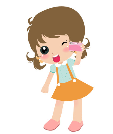 Illustration of a cute girl with Camera  Vector
