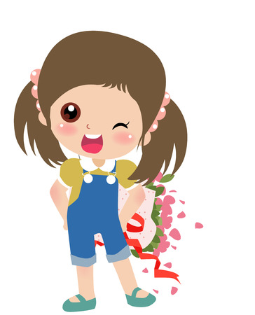 kiddie: Illustration of a cute girl with flowers