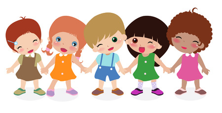 Illustration of group of children-boy and girls Vector
