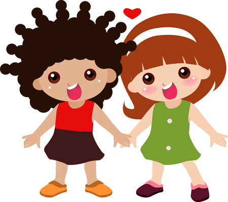 Illustration of cute two kids-peace and friend