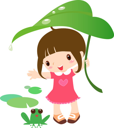funny kid: Illustration of a cute girl and frog