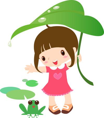Ilustración de una chica bonita y la rana