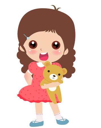 귀여운 작은 소녀와 테 디 베어의 그림 일러스트