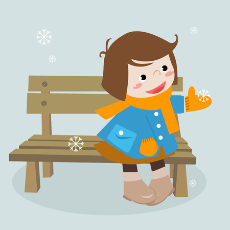 winter story:a cute little girl with snow Stock Vector - 6364252