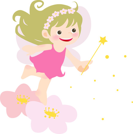 a cute little fairy girl illustration  Vector