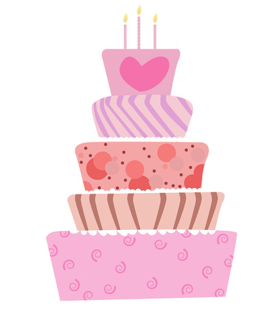 cartoon cake: illustration of a cute cake for birthday or wedding