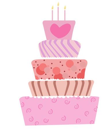 illustrazione di un carino torta di compleanno o di nozze  Vettoriali