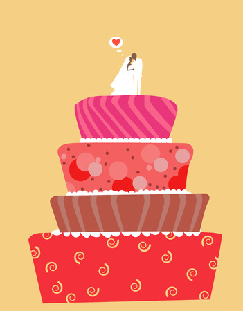 tiers: illustration of a beautiful wedding cake-sweet Illustration