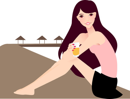 scarf beach: illustration of a beautiful girl relax at beach Illustration