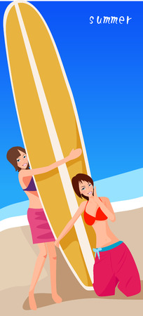 illustration of two cute girls and surfboards  Vector