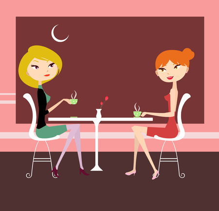 illustration of two pretty girl relaxing and talking Vector