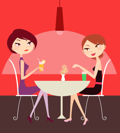 silhouttes: illustration of two pretty girl relaxing and talking