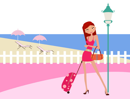 illustration of a fashion girl on holiday  Stock Vector - 6485159