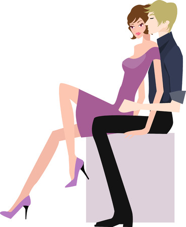 illustration of a boy and girl sit together Vector