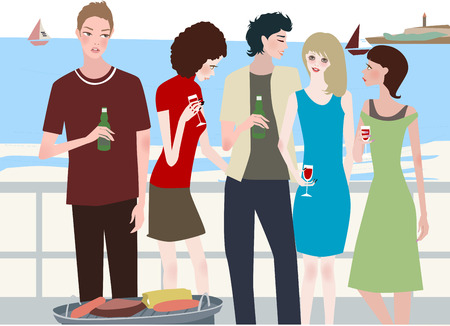gal: A group of young people at the beach barbecue