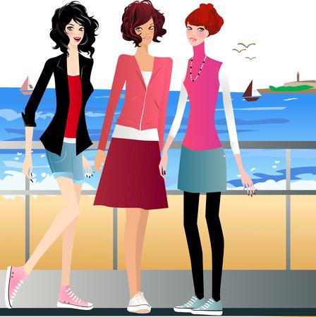scarf beach: illustration of three fashion girls relaxing seaside  Illustration