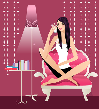 illustration of beautiful girl drinking a glass of milk Stock Vector - 6484840