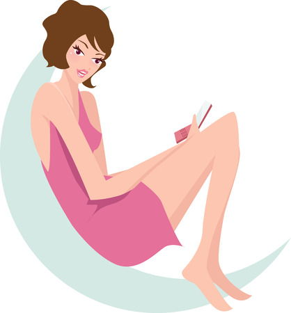 girls talk by phone: Pretty girl talking on the phone at home  Illustration