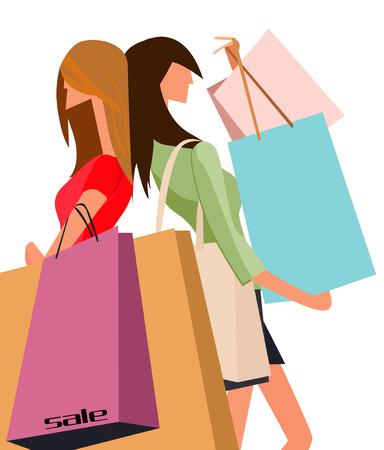 fashion shopping: Ilustraci�n de dos ni�as de tiendas de moda con bolsa de compras  Vectores