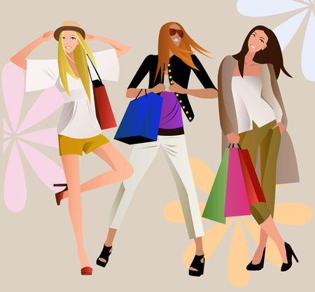 illustration of three fashion shopping girls with shopping bag Stock Vector - 6484845