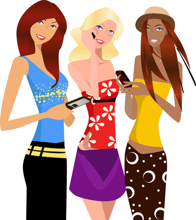 telephone box: illustration of three fashion shopping girls with phone