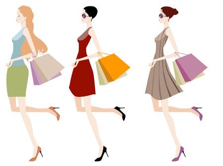 Ilustración de tres niñas de tiendas de moda con bolsa de compras