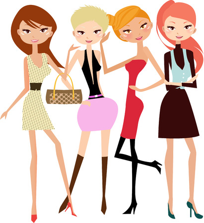 work group: illustration of five pretty fashion women-model