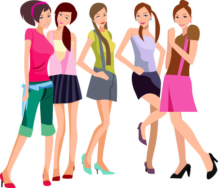 mall: illustration of five pretty fashion women-model