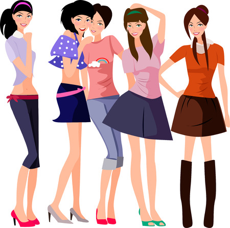 group of young adults: illustration of five pretty fashion women-model