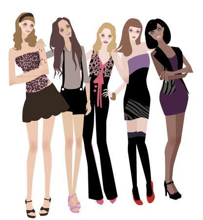 illustration of five pretty fashion women-model Stock Vector - 6530399