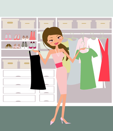 closets: Illustration of a fashion girl  going to shopping Illustration